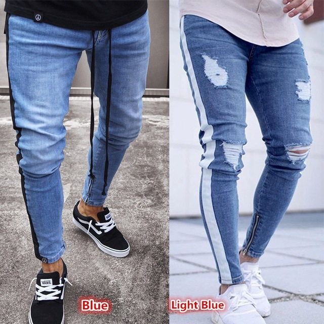 2019 new Men hip hop denim hole nostalgic jeans straight slim zipper male European and American jeans light blue casual fashion