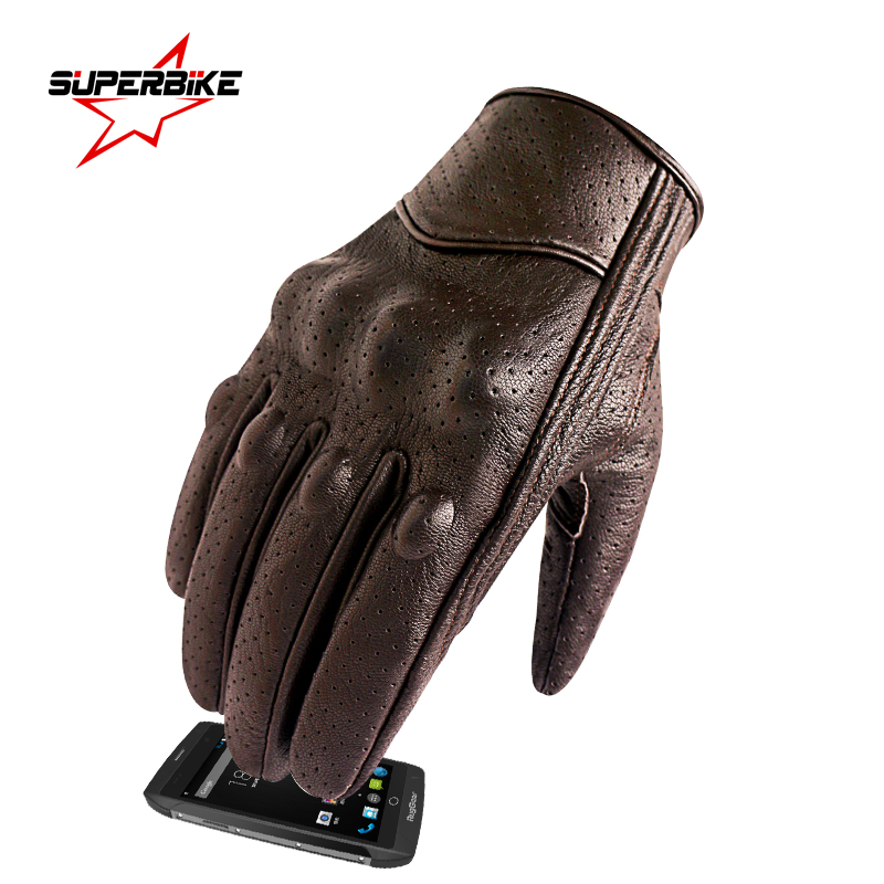 Motorcycle Gloves Leather Touch Screen Men Genuine Leather Cycling Glove Motorbike Racing guantes de moto luvas de motocicleta(China)