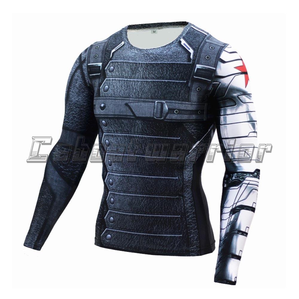 Camisa Capitão América Soldado Inverno impressão 3D 3 Guerra Civil cosplay  traje de Verão De Manga Longa De Fitness Masculino top Apertado 83c588d493e01