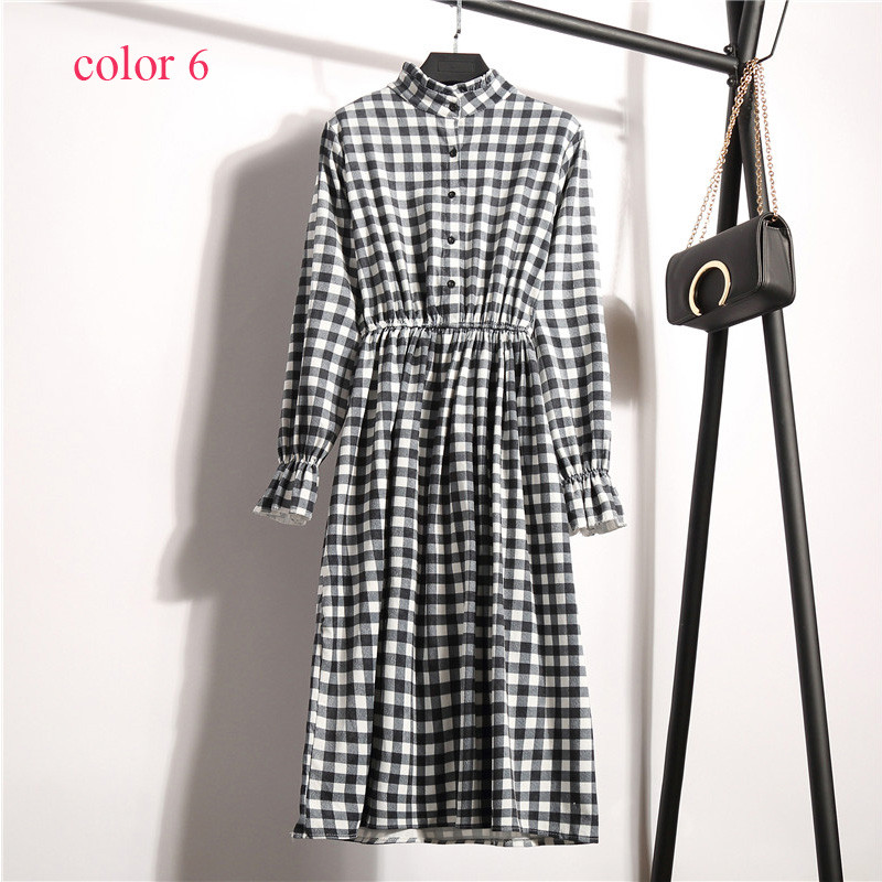 Corduroy High Elastic Waist Vintage Dress A-line Style Women Full Sleeve Flower Plaid Print Dresses Slim Feminino 18 Colors 4