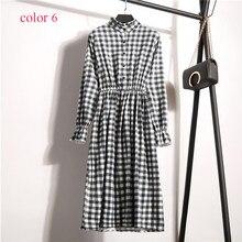 Corduroy High Elastic Waist Vintage Dress A-line Style Women Full Sleeve Flower Plaid Print Dresses Slim Feminino 18 Colors