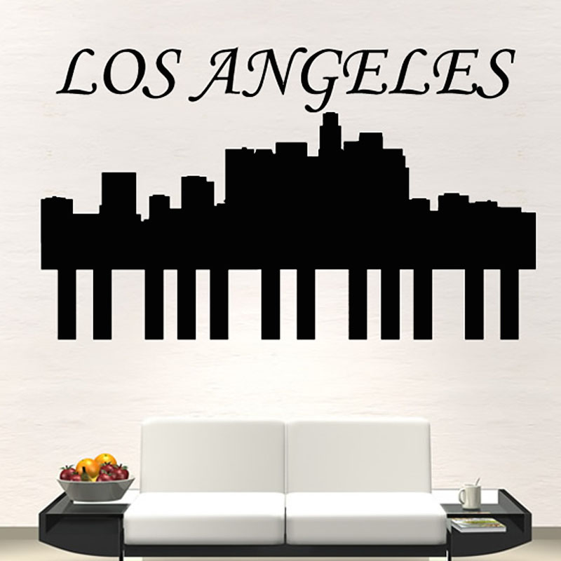 Dctop Hot Sale High Quality Vinyl Removable Home Decor Los Angeles Wall Sticker City Silhouette For