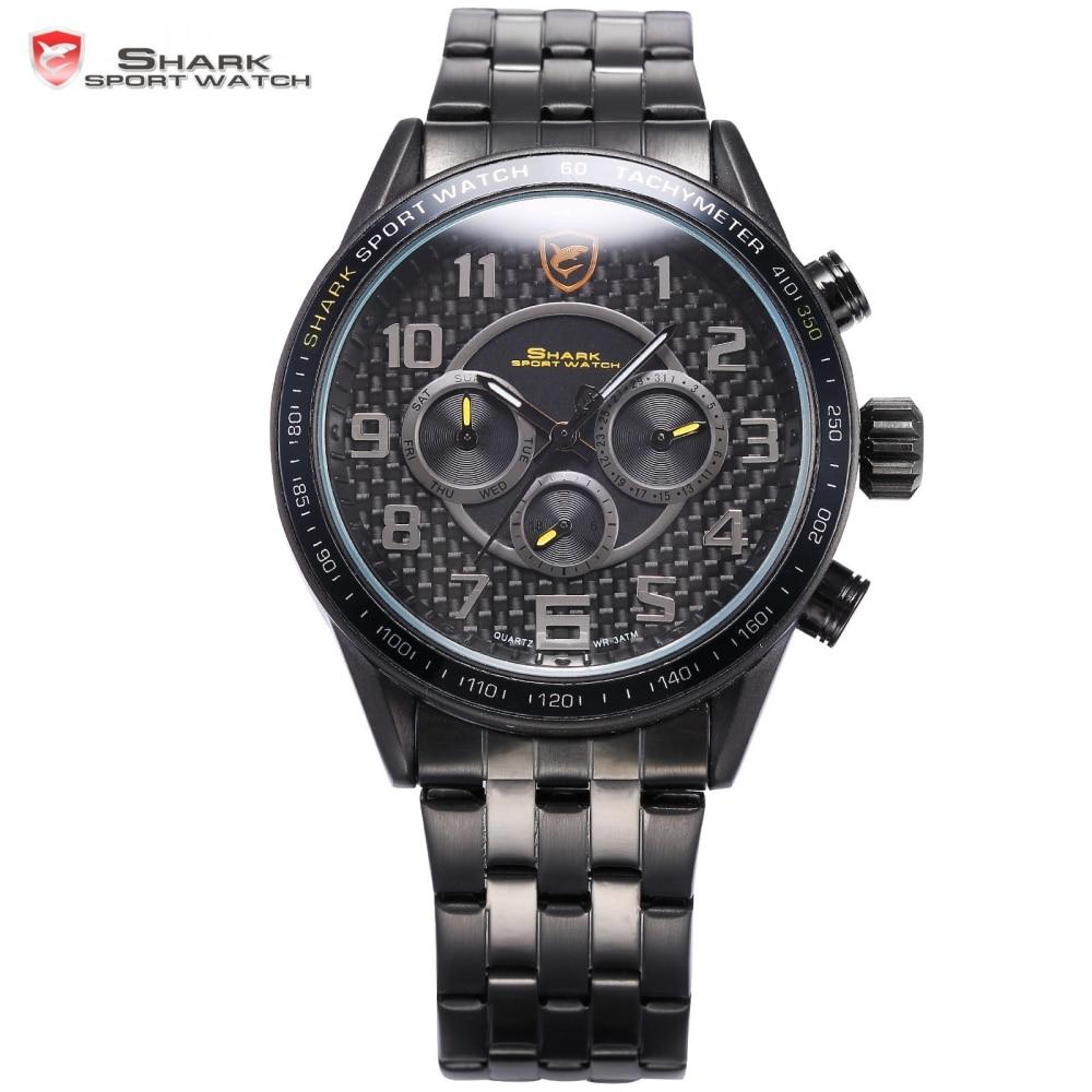 Blackspot Shark Sport Watch Simple Arabic Numbers Stainless Steel Band Military Clock Black Round Mens Quartz