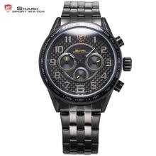 Tache noire shark sport montre simple chiffres arabes en acier inoxydable bande militaire horloge noir rond mens quartz montre-bracelet/sh366