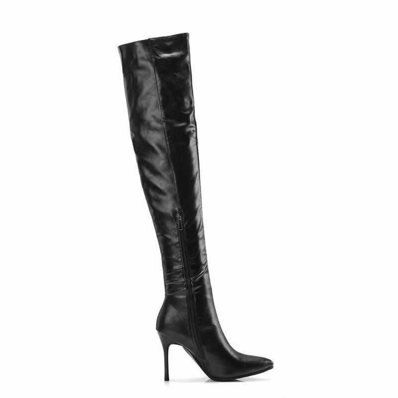 ASUMER büyük boy 33-43 moda diz üstü çizmeler sivri burun zip zarif balo uzun çizmeler kadın ince yüksek çizmeler 2020 yeni