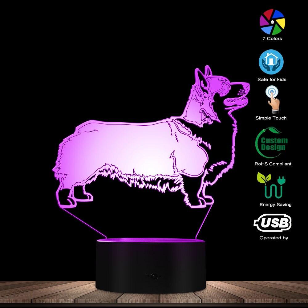 Pembroke Welsh Corgi Dog Lighting 3D Optical Illusion Light USB Night Lamp Cardigan Dog Glowing LED Light Home Decor Table Lamp