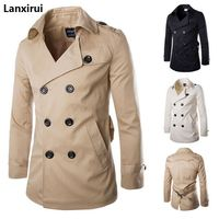 Trench coat men's spring autumn double breasted trench coat mens clothing medium and long jackets coats british style overcoat