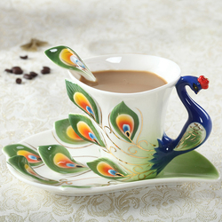 1 Pcs Peacock Coffee Cup Ceramic Creative Cups Bone China 3D Color Enamel Porcelain Cup with Saucer and Spoon Coffee Tea Sets