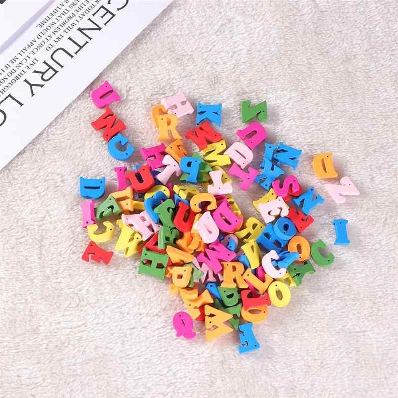 100 pièces 15mm mélange anglais lettres en bois bricolage artisanat pour enfants jouet fête d'anniversaire décor Scrapbooking embellissements décor à la maison A3