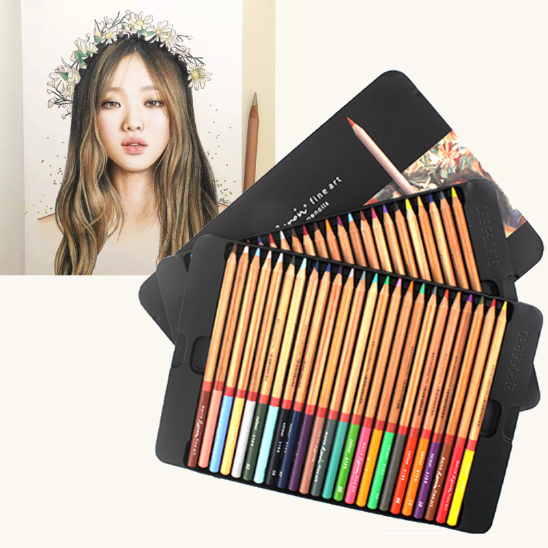luxury Professional Pencil Set 24/36/48/72/100 Colored Drawing Pencils for Sketch for Adult and Kids Great Art School Supplies marco renoir 3220 black wood colored pencils 24 36 48 colors watercolor pencils set for drawing lapis professional art supplies