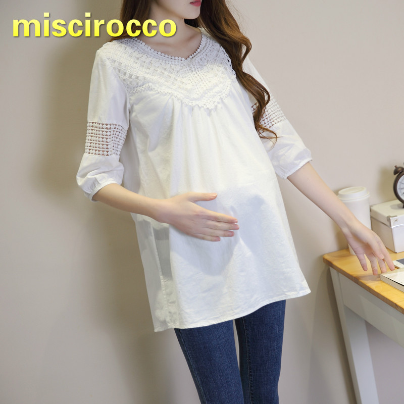 Maternity Blouses Lace Soft Pregnant Woman Clothing Spring and Summer Cotton White Shirt Comfortably Breathable Big Size