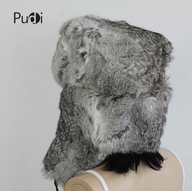 HR007 Real rabbit bomber trapper hat Aviator hat Helmet cap  hat genuine rabbit fur cap Winter hats for women