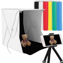 """8 """"휴대용 사진 스튜디오 라이트 박스 2 LED 패널 6 색 배경 미니 접이식 사진 라이트 박스 촬영 사진 라이트 박스"""