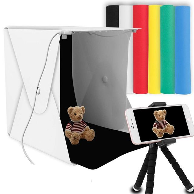 "8"" Portable Photo Studio Light Box 2 LED Panels 6 Colors Backdrops Mini Foldable Photo Light Box Shooting Photography lightbox"