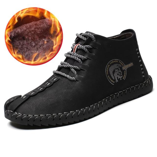 Дизайнерские мужские ботинки, рабочие тактические ботинки, Зимние ботильоны из спилка, обувь для вождения, теплая меховая плюшевая зимняя о...