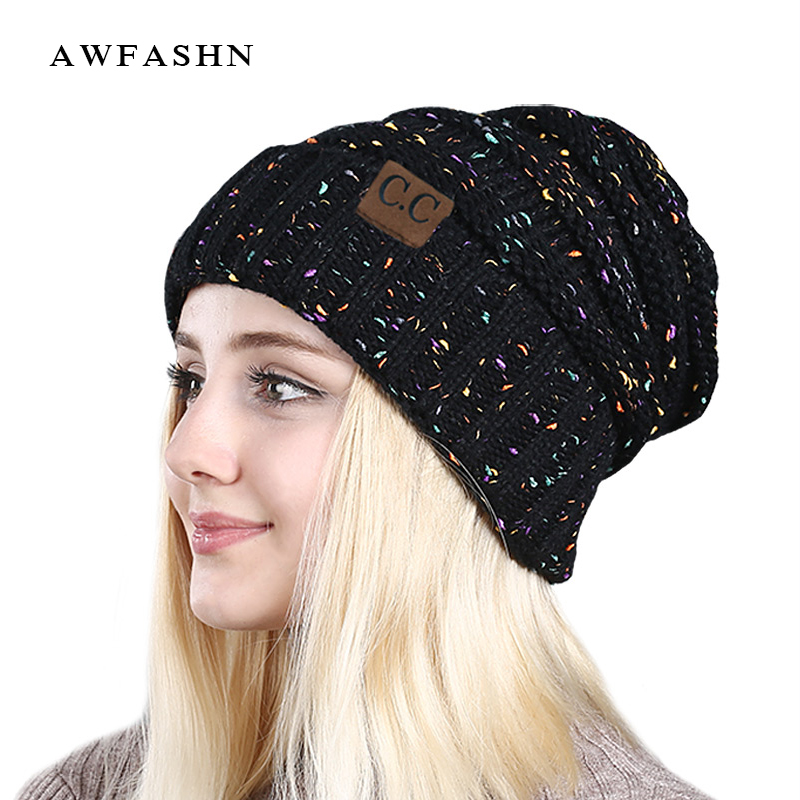 2017 New women hat CC fashion Warm Winter For Women Knitted Winter Hat Cap Female Beanies Caps Skullies Beanies 9259 2017 winter new style girl hats mixed color striped knitted warm skullies beanies women new fashion hat with ball winter caps