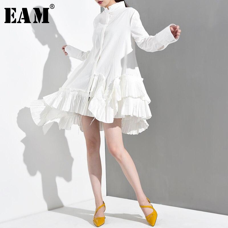 [EAM] 2020 New Spring Autumn Stand Collar Long Sleeve White Irregular Hem Ruffles Loose Shirt Women Blouse Fashion Tide JI8240