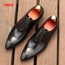 OMDE Pointed Toe Oxford Shoes For Men Fashion Lace-up Mens Dress Shoes Breathable Carved Business Formal Shoe Men Leather Shoes black white genuine leather mens dress shoes fashion pointed toe oxford shoes for men formal shoes business lace up high heels
