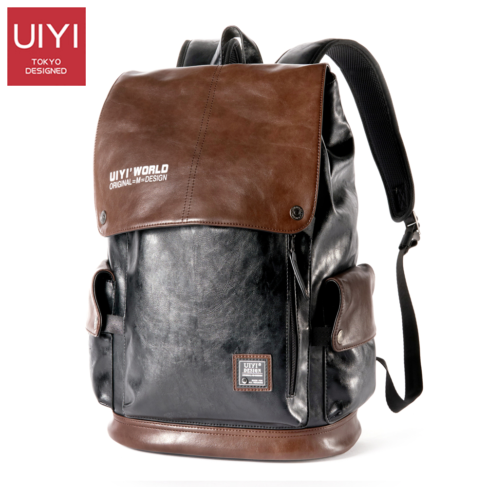 UIYI 2017 new men's backpack PU high quality 14 inch laptop bag for men Color stitching casual rope backpack Male Boy #UYB7035