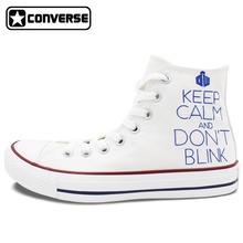 Women Men White Converse Chuck Taylor Shoes Hand Painted Police Box Unisex Canvas Sneakers High Top Flats