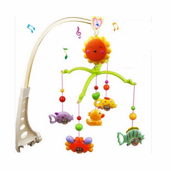 New Arrival Funny Baby Hand Bed Crib Wind up Musical Hanging Rotate Bell Ring Rattle Mobile Toy Gift For Baby Children Kids