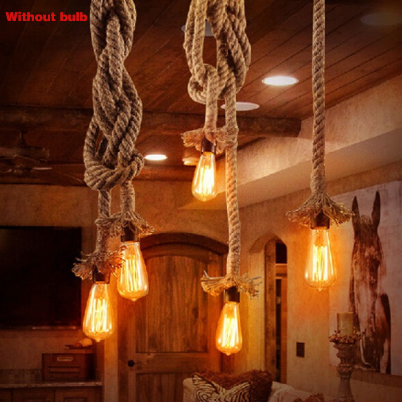 New Single Head Rope Pendant Lights Hanging Lamp Vintage Style Restaurant Bar Hemp Rope Light Suspension Luminaire Chandelier NE