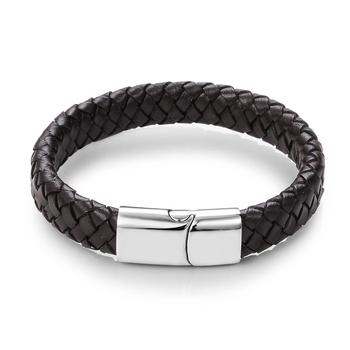 Braided Leather Men's Bracelet with Magnetic Stainless Steel Clasp Bracelets Hot Promotions Jewelry Men Jewelry New Arrivals Metal Color: Brown B2 Length: 18.5cm