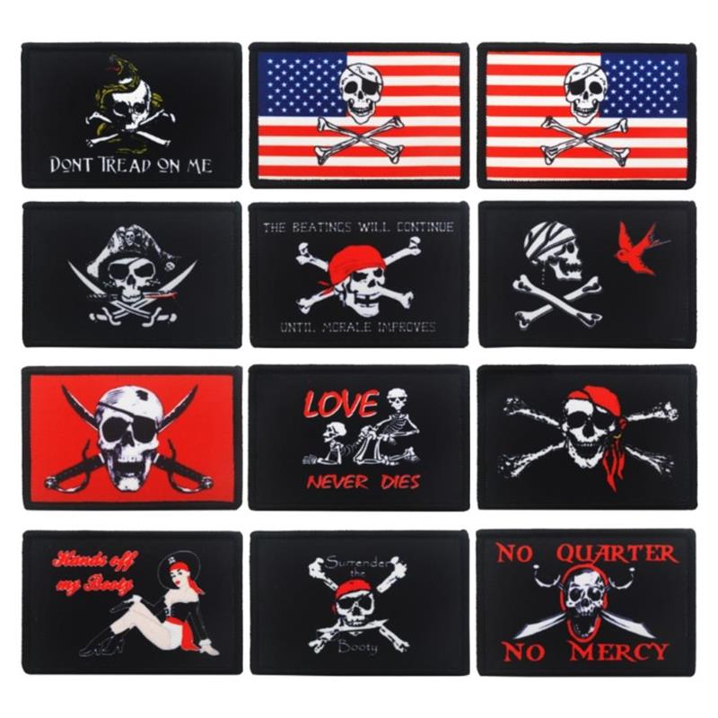 Skull Printed Embroidery <font><b>Patch</b></font> Emblem Love Badge <font><b>Sex</b></font> EMT Medic Snake Funny Pirate US Flag Tactical Military Morale <font><b>Patches</b></font> image