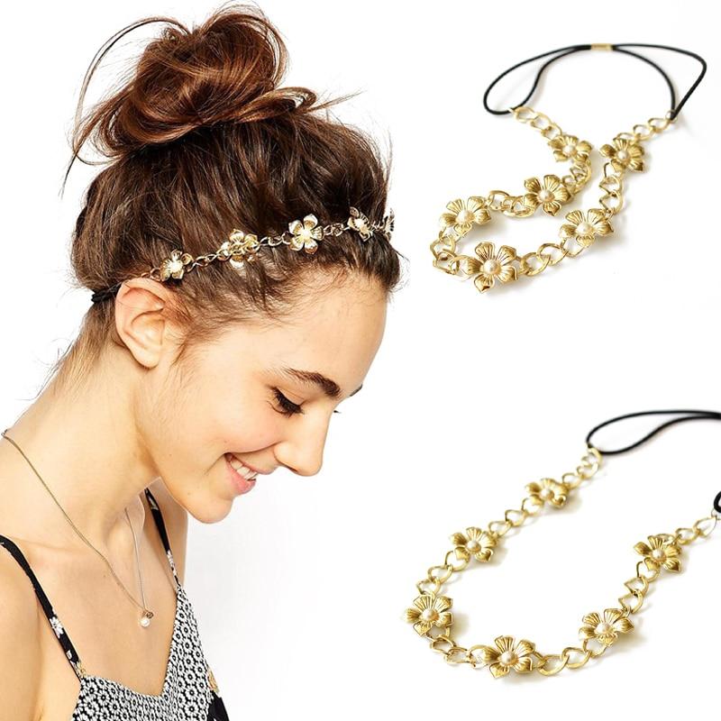 Headband Chain Headpieces-Accessories Hair-Jewelry Flower Metal-Head Pearl Gold Girls