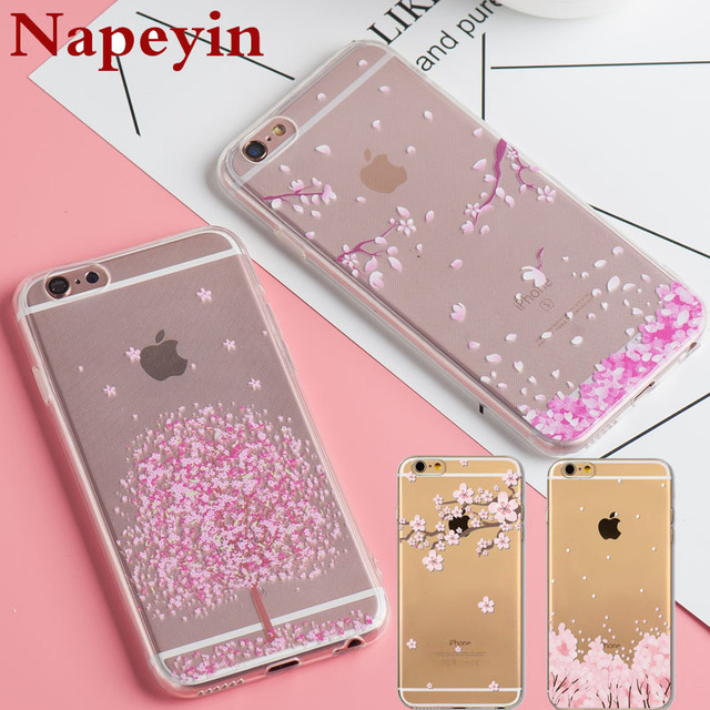 timeless design 1d286 2f001 US $2.08 |Floral Cherry Blossom Tree Case Cover For iphone 6 6S Plus 5 5s  SE Transparent Silicone Flowers Cases Capa for iphone 6-in Half-wrapped  Case ...