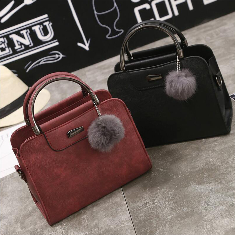 Winter Fashion PU leather Tote Handbag Women Scrub lady Small Retro Bag Shoulder Bag Small Lock Bucket Bag female handbag