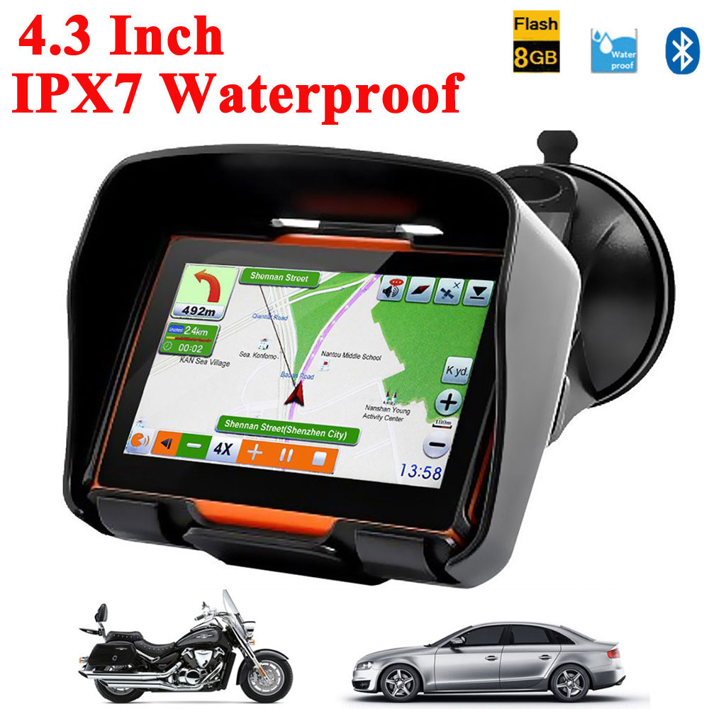 2016 New Version 4.3 Inch 8GB FM Waterproof Motorcycle Car Cycling Bluetooth GPS Navigation+Free Updated Maps for Most Country