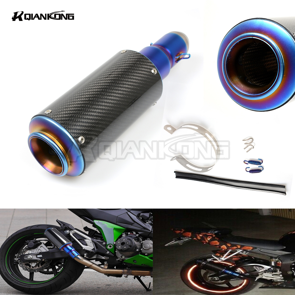 R QIANKONG 36-51MM Carbon fiber Modified Exhaust Pipe Muffler For HONDA CBR250 CBR400 CBR600 MSX125 MSX300 PCX 150 GROM MSX 300 r qiankong clear