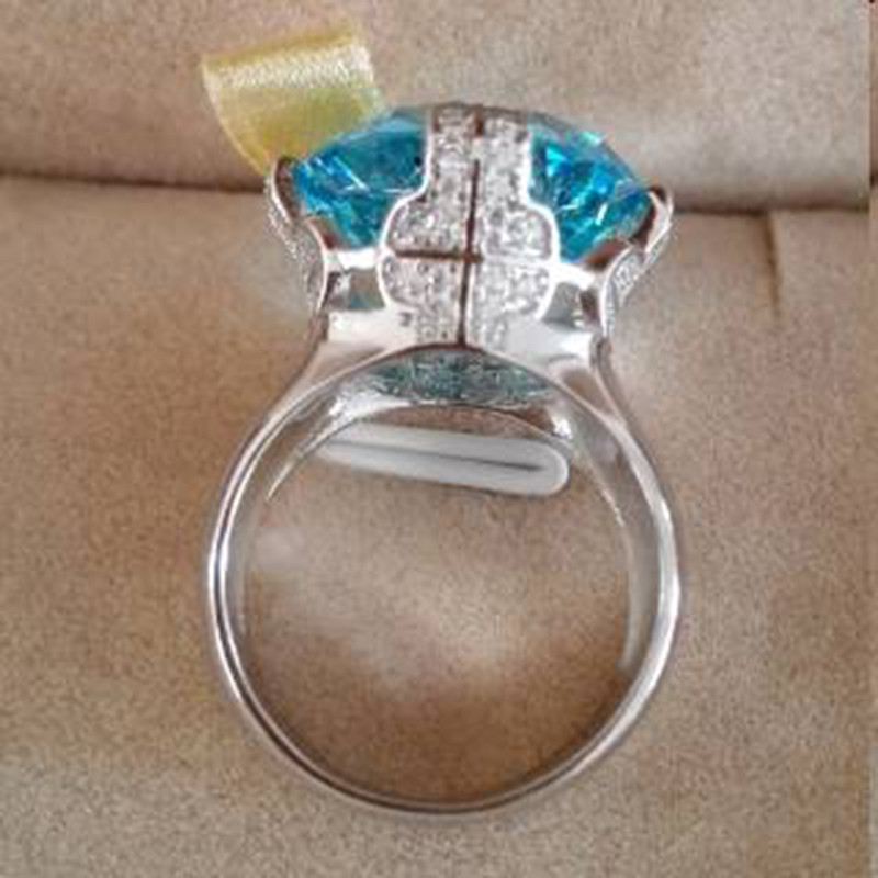 Qi Xuan_Blue pierre luxe Rings_Finger Rings_S925 solide argent mode bleu pierre ring_fabricant directement ventes - 5