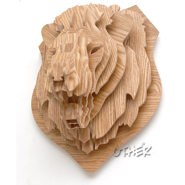 3d Woodcraft Patterns Puzzle Diy Wooden Animal Lion Home Furnishing