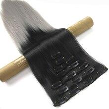Soowee 60 см длинные прямые высокотемпературные синтетические волосы для косплея черного и серого цвета, накладные волосы на заколках