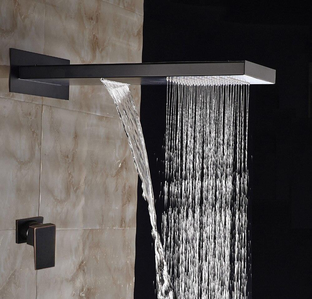 Современные 22 масло втирают Бронзовый Водопад дождь Насадки для душа Одной ручкой смеситель