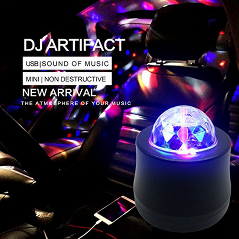 USB Mini Disco light Car Motorbike Headlight Waterproof USB Rechargeable 360 Degree Base RGB Sound Actived Rotating Ball Lights in Holiday Lighting from Lights Lighting