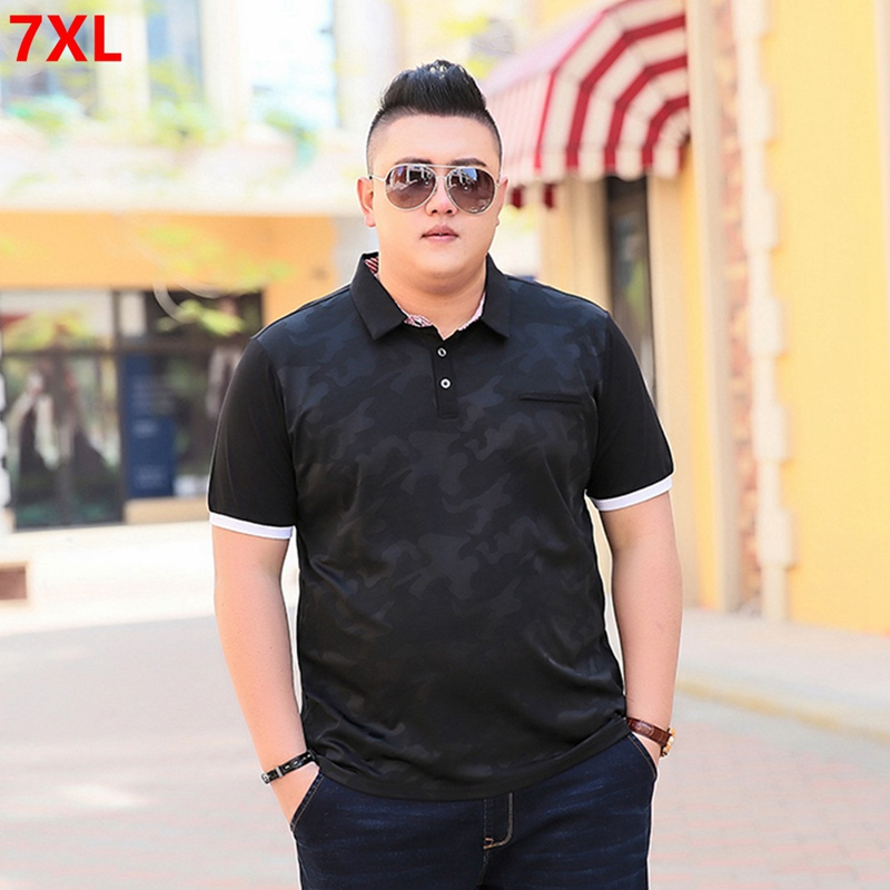 Summer stitching print large size camouflage Polos Short sleeve men's extra large size lapel polo shirt 85% cotton big man 7XL