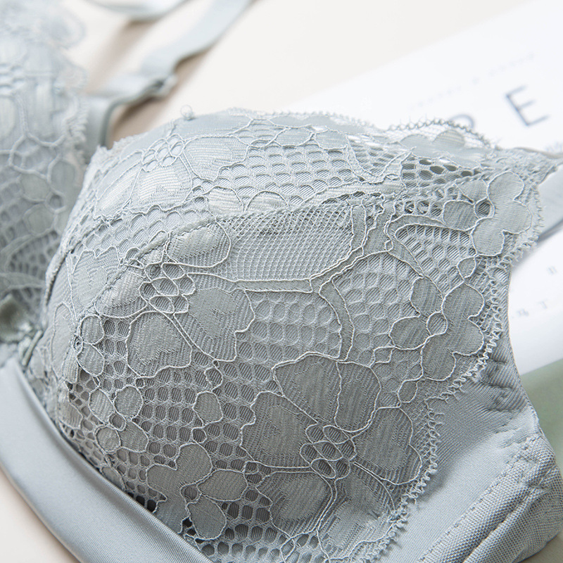 MengShan New lace flour Bra Suit Woman lingerie Sexy gathering breathable and steel ring free underwear suit lace bra 85A 85B in Bra Brief Sets from Underwear Sleepwears