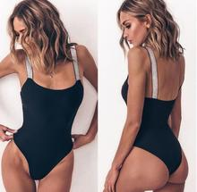 New Push Up One Piece Swimsuit Solid Swimwear Women Strap Halter Swimsuits Ruched Bathing Suits Beachwear