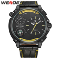 WEIDE Brand Leather Strap Watch Dual Time Zone Analog Display 30 Meters Waterproof Clock Oversize Men Business Quartz Wristwatch