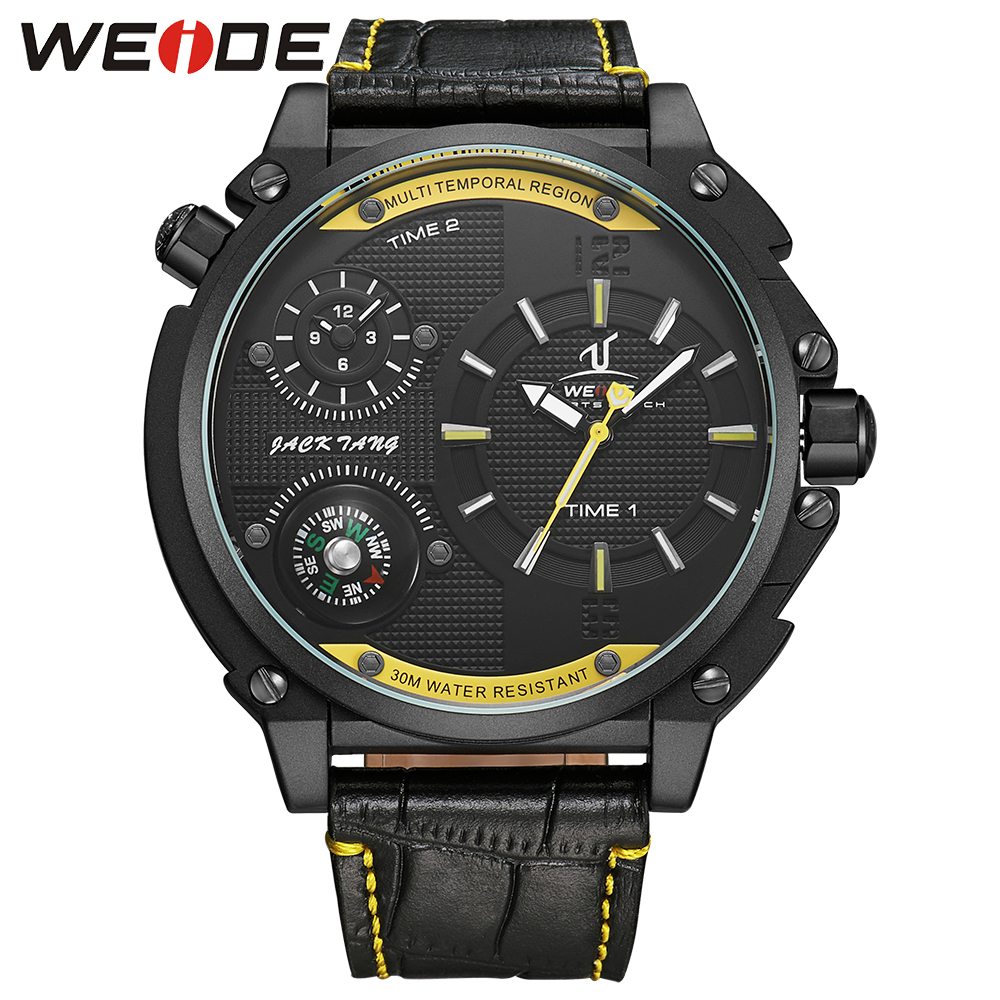 WEIDE Brand Sports Compass Leather Strap Band  Watch Dual Time Zone Analog Display Clock Oversize Men Business Quartz Wristwatch weide wh2309b military sports quartz watch double movts analog digital led dual time display alarm wristwatch for men