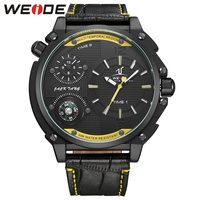 WEIDE Brand Sports Compass Leather Strap Band Watch Dual Time Zone Analog Display Clock Oversize Men Business Quartz Wristwatch