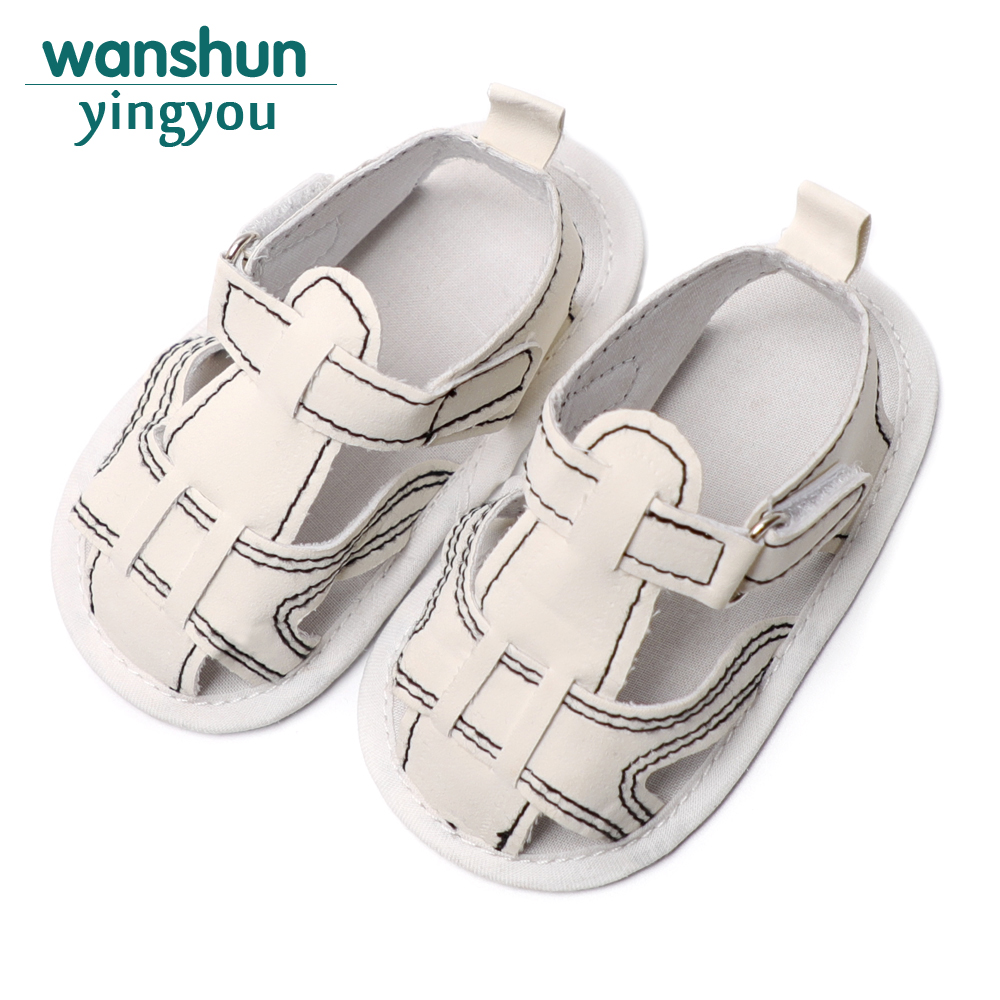 Childish Baby Boy Shoes Non-slip Solid Summer Soft Canvas Hook & Loop Shallow First Walkers 0-18 Months 2 Color Available