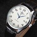 Ganador Hombres de Lujo Clásico Reloj Mecánico automático Fecha Reloj Mecánico automático Esquelético de Negro Correa de Cuero Reloj de Pulsera