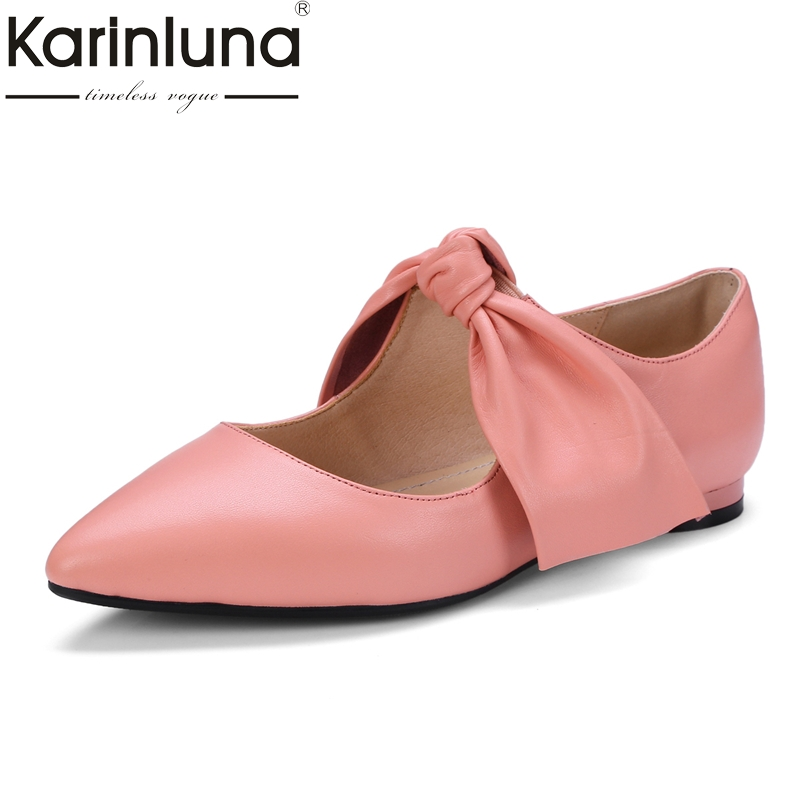 KarinLuna 2018 Spring Autumn Genuine Leather Size 34-39 Fashion Pointed Toe Mary Janes Pumps Woman Bowtie Low Heel Women Shoes large size 42 rhinestone shoes women low heel pumps pointed toe genuine leather shoes women high heels mary janes ladies shoes