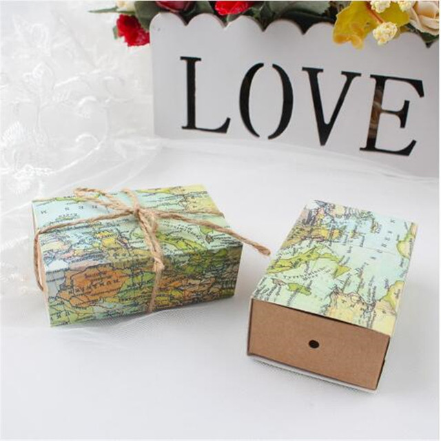 100pcs kraft paper candy boxes wedding decoration supplies world map drawer style gift box christmas party