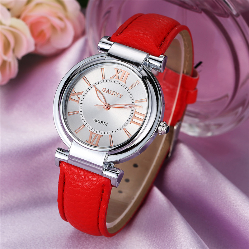 Women Watches Top Brand Luxury Fashion Slim Red Leather Strap Roman Numerals Dial Quartz Wrist Watch Ladies Clock Montre Femme 2018 new mce brand quartz watches for women fashion roman numerals simple watch casual stainless steel leather strap clock 002