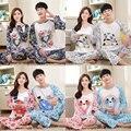 Nuevo Anuncio 2016 de Primavera Y Otoño Los Amantes de Manga Larga Pijamas juegos de Cartón Ropa Para Hombres y Mujeres Pareja ropa de Dormir Delgada trajes